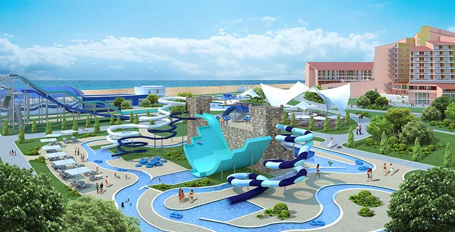 Вид на аквапарк и море, визуализация